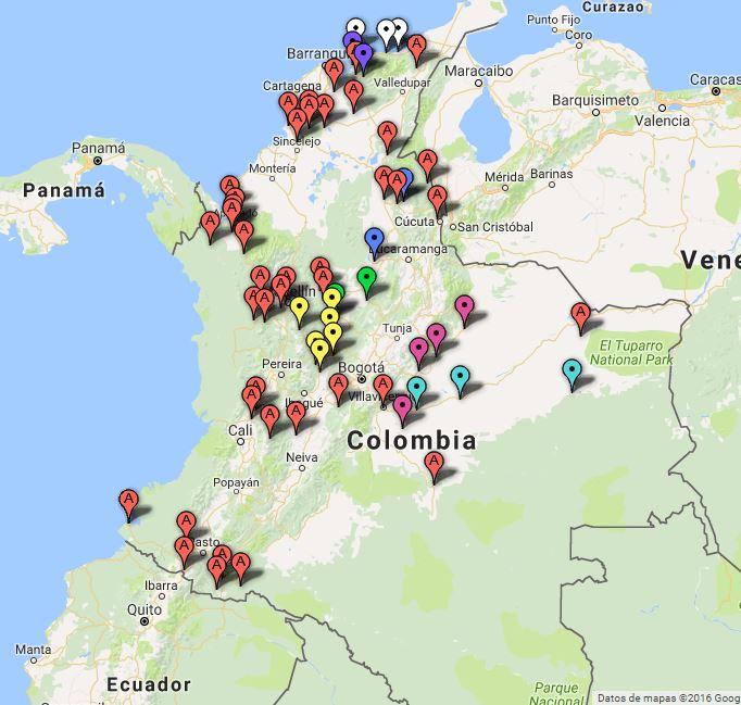 Mapa de masacres con desaparecidos